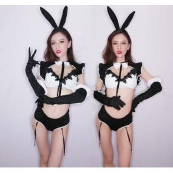 ダンス衣装 舞台服 セクシーステージ衣装 ガールズ ヒップホップセット うさぎの女 DJ舞台 ファション衣装wy5007