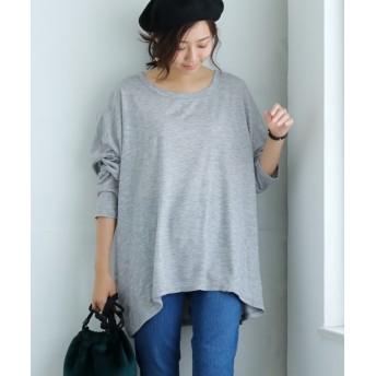 【ゆったりワンサイズ】ニット風カットソードルマントップス (Tシャツ・カットソー)(レディース)T-shirts