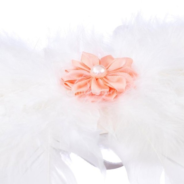 生まれたばかりの赤ちゃんのヘッドバンド&翼衣装の写真の小道具の衣装は、花のオレンジ色を設定します