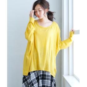 【ゆったりワンサイズ】ニット風カットソードルマントップス (Tシャツ・カットソー)(レディース)T-shirts, T恤