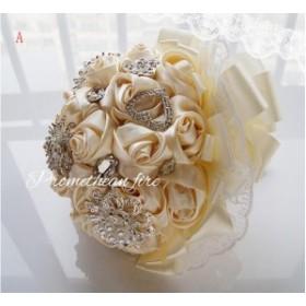 綺麗ブーケ ウェディングブーケ 手作り造花ブーケ ドレスブーケ ラウンドブーケ 花束 ウェディング用  ブライダル 安い SPH-36