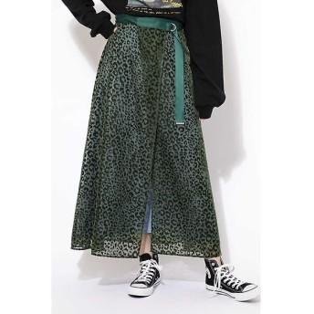 ROSE BUD / ローズ バッド レオパードベロアオパールレイヤードスカート