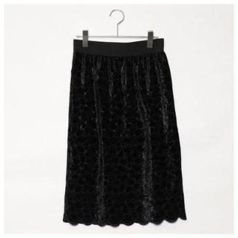 コムサイズム COMME CA ISM 【セットアップ対応】 【結婚式・2次会にも】ベロア 刺繍レース スカート (ブラック)