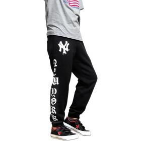 スウェットパンツ - EVERSOUL スウェットパンツ メンズ 裏起毛 秋 冬 ニューヨークヤンキース NY ロゴ プリント マジェスティック ダンス 衣装 ジョガーパンツ ブラック ホワイト オレンジ 厚手