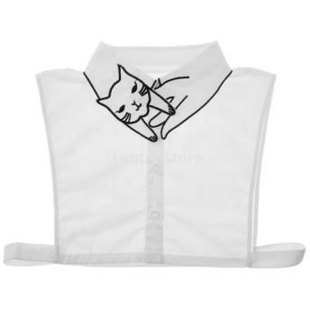 ソフト レディース 偽の襟 取り外し可能 人工襟 ブラウス 刺繍 キティ