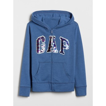 Gap フレア スパンコールロゴ フーディースウェットシャツ(キッズ)