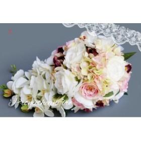 綺麗ブーケ ウェディングブーケ 手作り造花ブーケ ドレスブーケ ラウンドブーケ 花束 ウェディング用  ブライダル 安い SPH-47