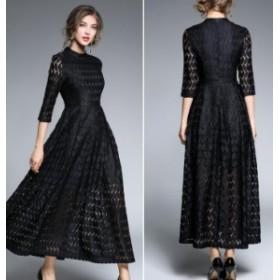 ロングドレス お呼ばれワンピース マキシ丈 体型カバー レース ハイウエスト フレア パーティー ドレス 結婚式 お呼ばれ 二次会