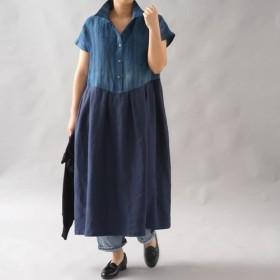 【wafu】伝統製法 正藍染 中厚 リネン ワンピース シャツ襟 藍染ドレス/藍色×ネイビー a064d-inn2
