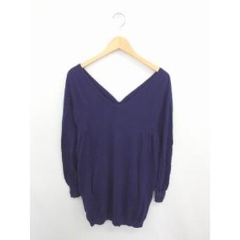 【中古】バナーバレット Banner Barrett ワンピース チュニック ニット 無地 シンプル Vネック 綿 ウール混 長袖 38 紫