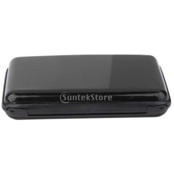 ノーブランド品 金属ケース ミニ 防水 ビジネス ID クレジットカードホルダー カードケース 収納ケース 全11色選べる - 黒
