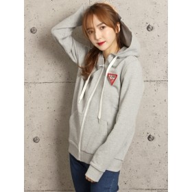 GUESS LADIES L/SLV HOODED ZIP UP/ジップアップパーカー / ミディアムグレー / S (ゲス)