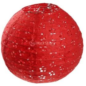 ノーブランド品 2サイズ 中空花 紙吊り 提灯 結婚式 パーティー 家の装飾 8色  - 赤, 8インチ