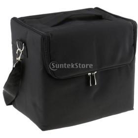 旅行着用 化粧品/ジュエリー収納ケース 専門用化粧箱 メイクアップバッグ 大容量収納 肩用ロープ付き 全3色選べ - ブラック