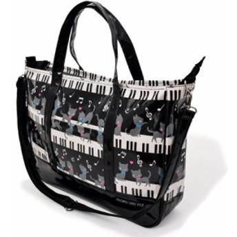 レッスンバッグ マチ付きファスナー ピアノの上で踊る黒猫ワルツ(ブラック) N3000700 手提げかばん/絵本バッグ/おけいこバッグ/幼稚園