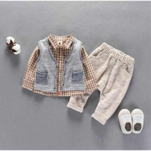 f63f368221779 ロンパース 子供服 フォーマル スーツ ベビー服 3点セットベスト+シャツ+パンツ赤ちゃん 男の子
