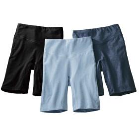 股ずれ防止。綿混ストレッチお腹らくちん深ばき3分丈ショーツ3枚組 3分丈・ロング丈ショーツ,Panties