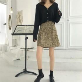 レオパード ゴアードスカート 台形スカート ミニ丈 膝上 カジュアルコーデ 韓国ファッション