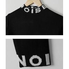 ニット・セーター - NOWiSTYLE MERONGSHOP(メロンショップ)ノイズクロップドニット韓国 韓国ファッション トップス ニット セーター プリント クロップドタートルネック 双子コーデ ペアルック リンクコーデ