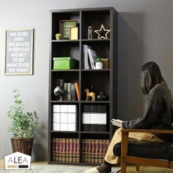 分厚い板材で高級感♪ 木製シェルフ 幅80 高さ186 奥行き30cm 10マス 【送料無料】   A4ファイル 収納 棚 おしゃれ 正方形 本棚