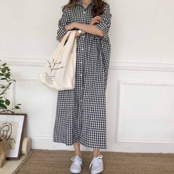 2018年夏秋♪ギンガムチェック シャツワンピース ロング マキシ 羽織り