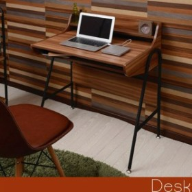 曲線パイプと木のコラボ♪ コンパクトデスク 【送料無料】 パソコンデスク ワークデスク おしゃれ アイアン 棚付き 激安 安い