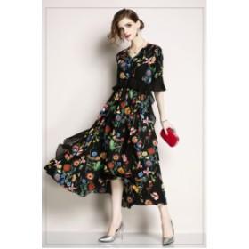 半袖 花柄 レトロ  ミディアム丈 プリント フレアドレス ブラック シフォン リゾート 20代、30代 お呼ばれ 女子会