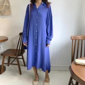 レディース ワンピース シャツワンピ ミモレ丈 長袖 ゆったり ブラック ブルー フリーサイズ ワンサイズ 送料無料
