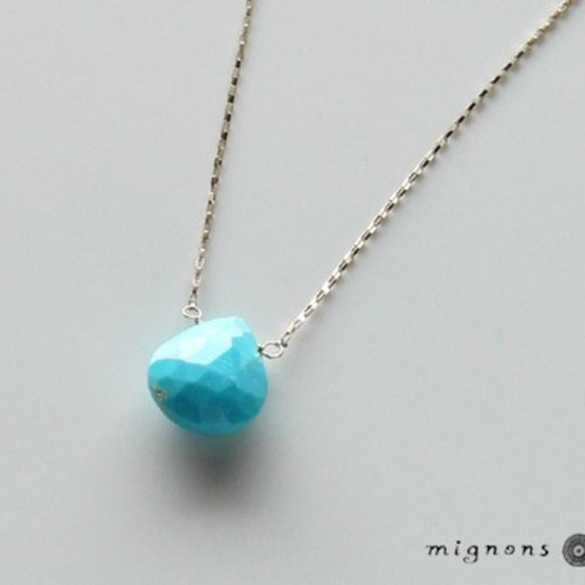 【K10】アリゾナ産ターコイズ一粒ネックレス(スリーピングビューティー)*12月誕生石