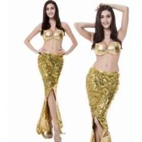 即納 マーメイド コスプレ衣装 ハロウィン 仮装 コスチューム プリンセス 人魚姫 ファンタジー パーティー ドレス レディース ゴールド