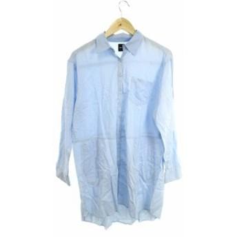 【中古】ドロシーズ DRWCYS ワンピース シャツ ひざ丈 長袖 オーバーサイズ 1 水色 ブルー /SU24 レディース