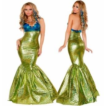 即納 マーメイド コスプレ衣装 ハロウィン 仮装 コスチューム プリンセス 人魚姫 ファンタジー パーティー ドレス レディース ブルー