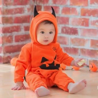 ハロウィン 衣装 子供 ベビー 男の子 女の子 着ぐるみ かぼちゃ コスプレ おばけ フリース カバーオール ロンパース 70 80 90 95