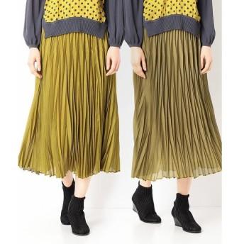 Gabardine K.T リバーシブル変形アコーディオンプリーツスカート