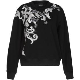 《期間限定セール開催中!》JUST CAVALLI レディース スウェットシャツ ブラック L 100% コットン レーヨン ポリエステル ポリウレタン