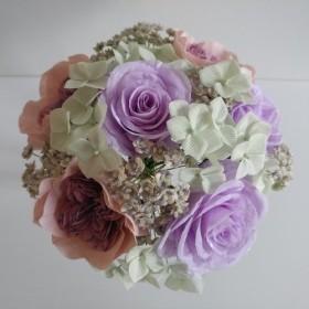 布の手は布の花のワークショップを作った - ブライダルブーケ - バラ、紫とピンクのトーンと私の心を目撃