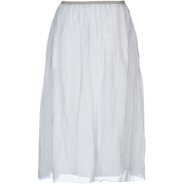 《期間限定セール開催中!》POMANDRE レディース 7分丈スカート ホワイト 40 100% コットン