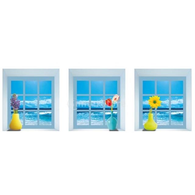 防水 3D ビジョン 花瓶 家 装飾 取り外し可能 ウォールステッカー デカール 壁画 花 アート