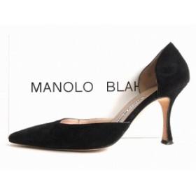【中古】マノロブラニク MANOLO BLAHNIK パンプス スエード セパレート ピンヒール 35 22.5 ブラック 黒 レディース