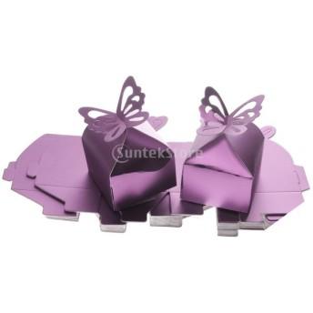 7色 約50個 ギフトボックス 蝶 正方形 お菓子ボックス 結婚式 好意 キャンディバッグ - 紫色