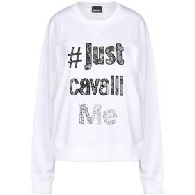 《送料無料》JUST CAVALLI レディース スウェットシャツ ホワイト XS 100% コットン ポリエステル
