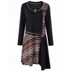 【XL~5XL】 大きなサイズ 秋 冬 丸首 長袖 カジュアル ワンピース ドレス ビッグサイズ 70051