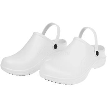 シェフ コック 作業靴 レインシューズ 軽量 滑り止め 防水 快適 全2色5サイズ選べる - 白, 37