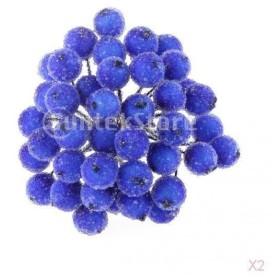 約400pcs ミニ クリスマス つや消し フルーツ ベリー ヒイラギ 造花 クリスマスツリー 花輪 花束 装飾  ダークブルー