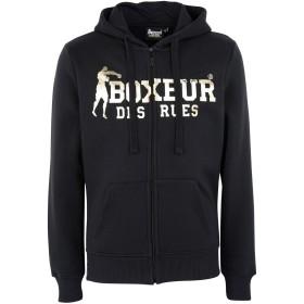《期間限定 セール開催中》BOXEUR DES RUES メンズ スウェットシャツ ブラック S コットン 80% / ポリエステル 20% HOODED FZIP SWEATSHIRT WITH FRONT BIG LOGO