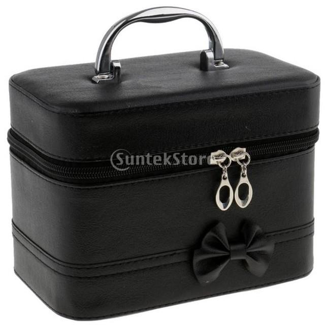 メイクハンドバッグケース ポータブル ハンドバッグ ファスナー メイク 化粧品 オーガナイザー 収納ケース ボックス 4色選べ - ブラック