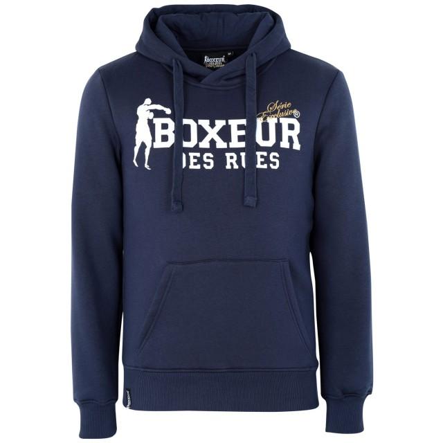 《期間限定 セール開催中》BOXEUR DES RUES メンズ スウェットシャツ ダークブルー M コットン 80% / ポリエステル 20% HOODED SWEATSHIRT WITH FRONT BIG LOGO