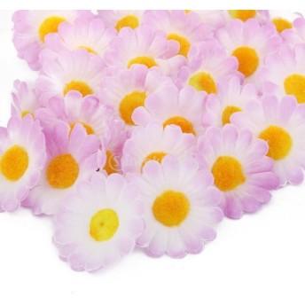 ノーブランド品ガーベラデイジー 造花 花部分のみ 花びら 花ヘッド 結婚式 装飾 DIY ローズ 人工 (ライラック)