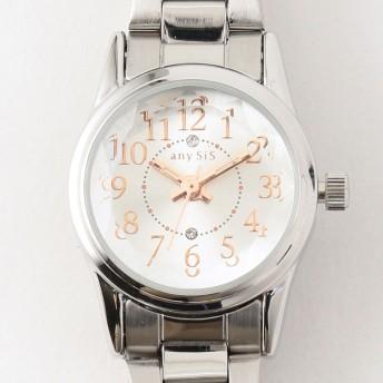 【オンワード】 any SiS(エニィスィス) 【ロゴ入り】サークルフェイス ウォッチ(腕時計) シルバー 2 レディース
