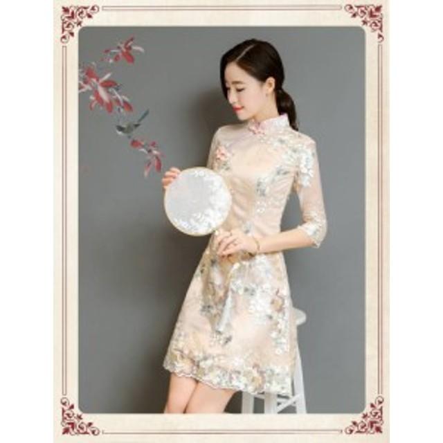 【送料無料】花柄 チャイナネック スタンドカラー Aライン ミニドレス ワンピース 大きいサイズ ドレス 結婚式 お呼ばれ 5l BTBA1149